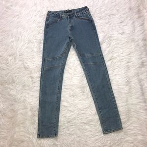 Nasty Gal skinny jeans 26 zipper pocket high rise